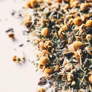 close-up of chamomile tea